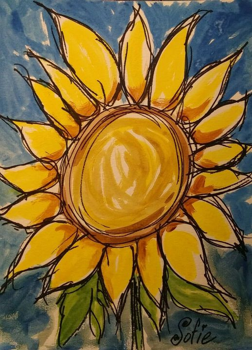Sofie's Sunflower Watercolor - MacDonald Gallery