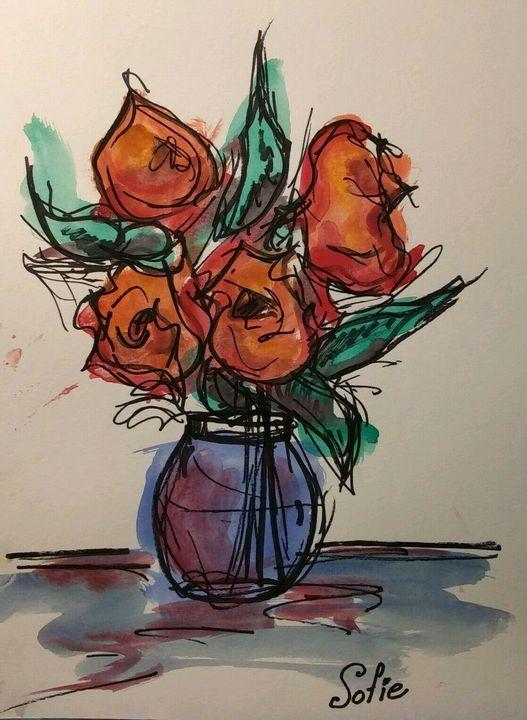 Rich Red Flower Bouquet Watercolor - MacDonald Gallery