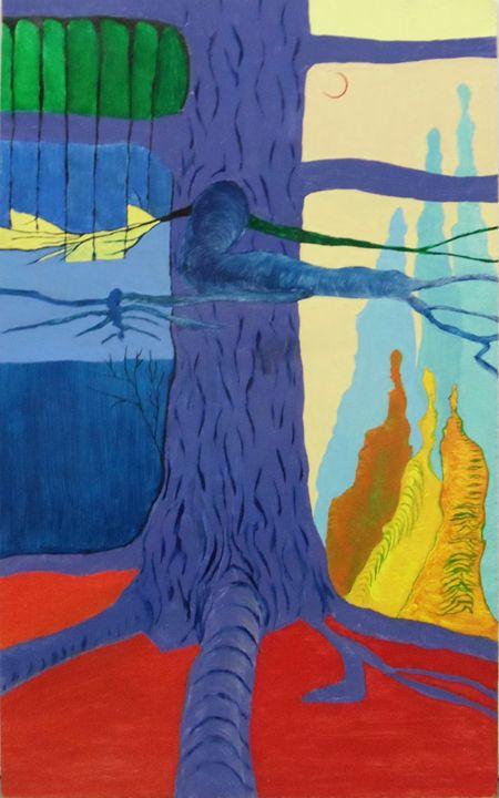 Purple Tree w Mountains - Lisa Zilker