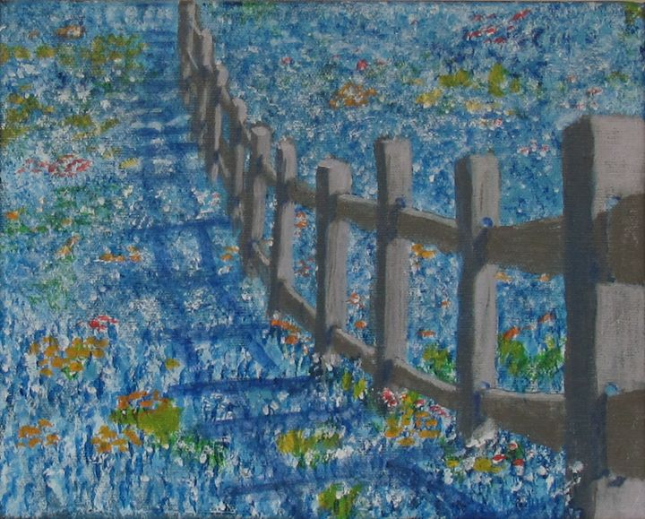 Texas spring flowers by fence - Art by JAMES B TAYLOR