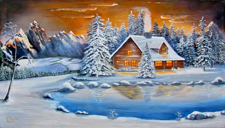 Winter Cabin - Art by JAMES B TAYLOR