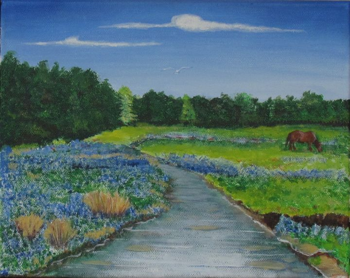 Spring flowers by creek - Art by JAMES B TAYLOR