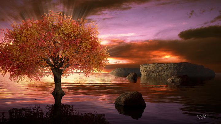 Sunset Tree - CG Cowboy
