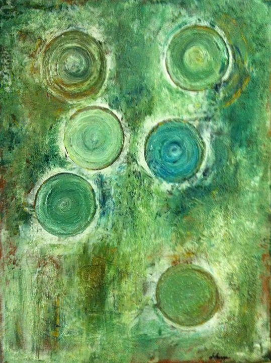 Green Antique Circles - Galsery Prints