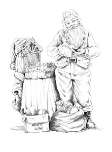 Santa decorating for Christmas