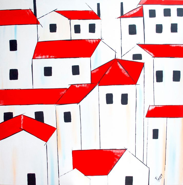 Acrylic painting - red roofs - PooArtGallery