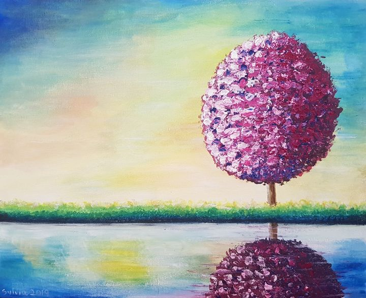 Abstract reflective topiary tree - Sylvia's Art