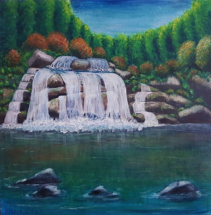 Serene Waterfall - Sylvia's Art