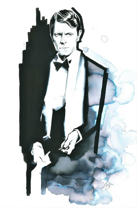 David Bowie on movie set - Federica Gallery