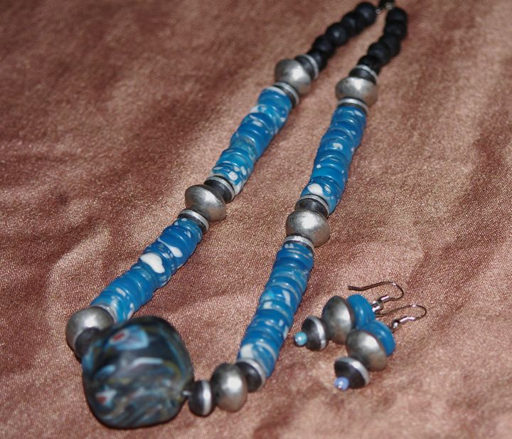 African Glass beads necklace - Maya Art