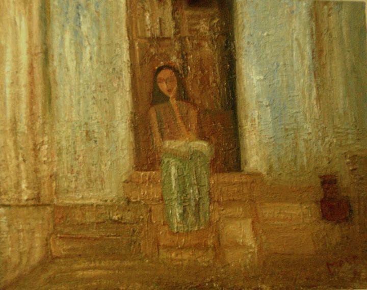 Girl reading at door steps - Maya Art