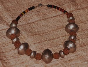 Rudraksha and coin silver necklace