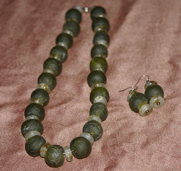 African glass beads necklace. - Maya Art