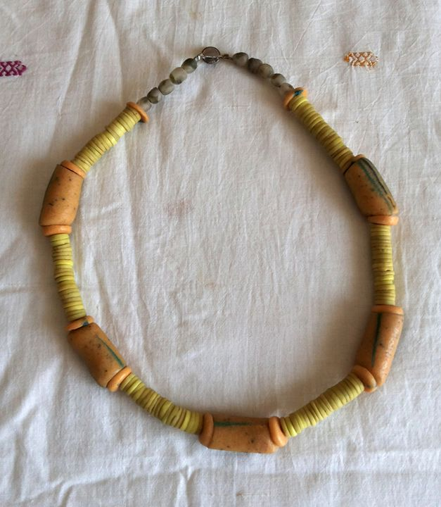African glass beads necklace - Maya Art