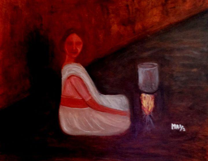 Lone woman cooking - Maya Art