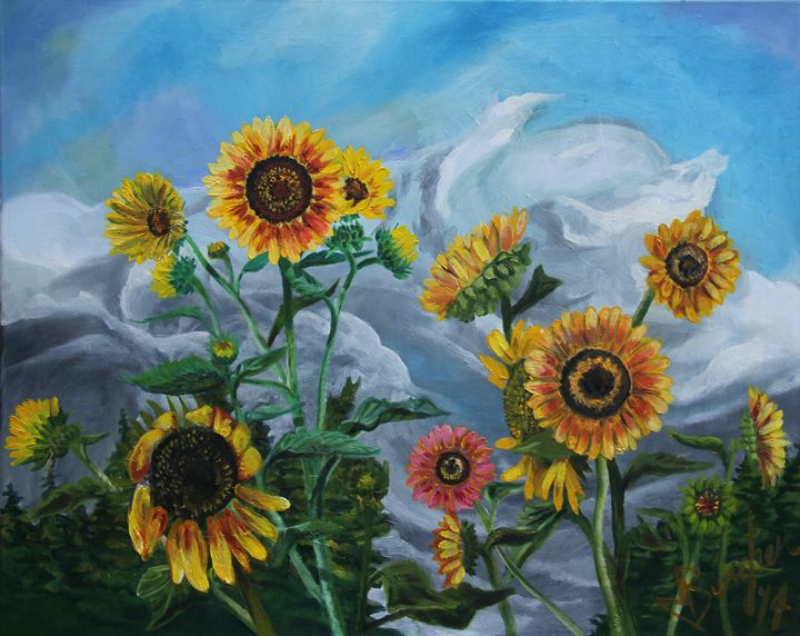 Wild Sunflowers in the Wind - Burgher