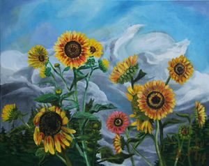 Wild Sunflowers in the Wind