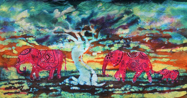 Three Red Elephants - Burgher