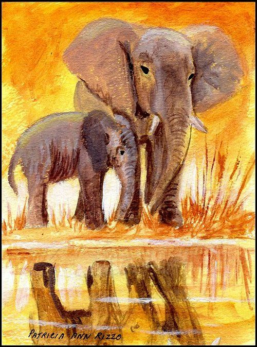 Original Art - Elephants - Patricia Ann Rizzo
