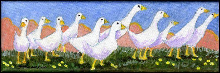 Original Acrylic Art - White Ducks - Patricia Ann Rizzo