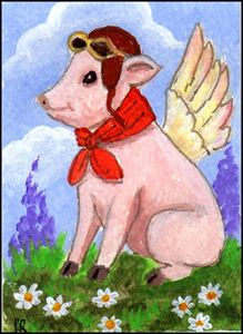 ACEO Flying Porker II - Patricia Ann Rizzo