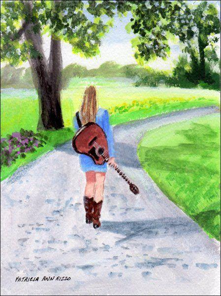 Original Art - Girl with a Guitar - Patricia Ann Rizzo