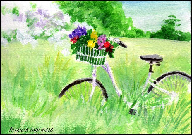 Original Art - Bicycle in the Countr - Patricia Ann Rizzo