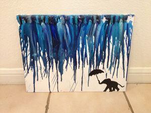 Elephant Crayon Art- Blue