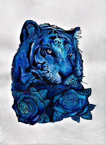 Blue Watercolor And Ink Tiger Design