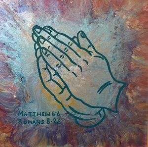 Praying Hands in Teal