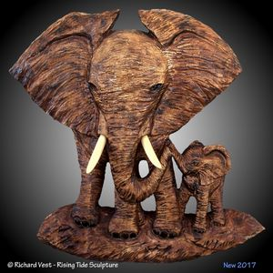Mother Baby Elephant Wall Carving