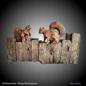 Fence Squirrels Vers. 1 Wall Carving