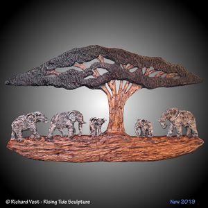 African Elephants Wall Sculpture