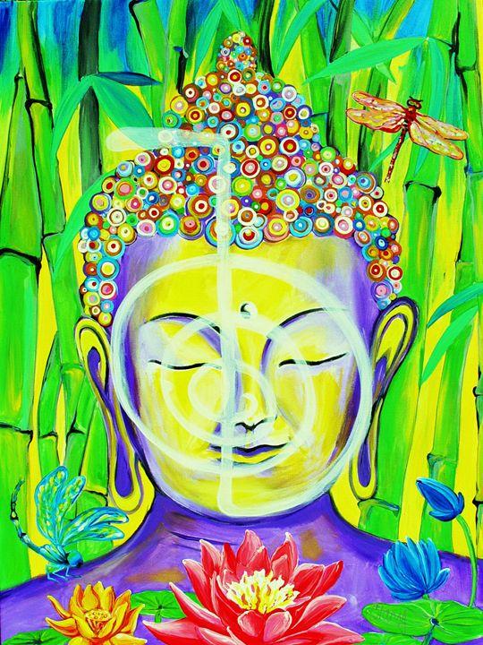 Buddha Cho Ku Rei - 36X48 - Acrylics - Clary Meserve