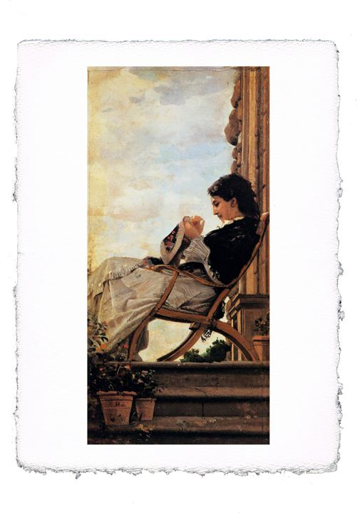 Banti - Woman Sewing on the Terrace - ExpoitalyArt