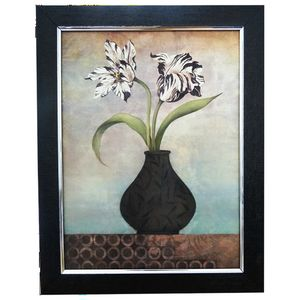 BROWN FLOWER VASE WITH WHITE FLOWER