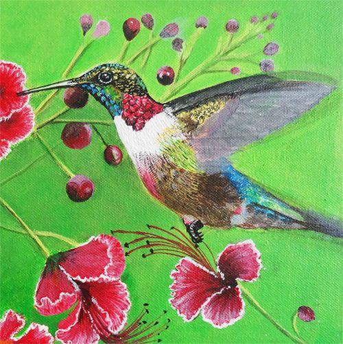 HUMMING BIRD FLYING TO FLOWER - VGocart