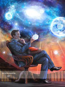 Nikola Tesla with a Coil & Fireballs