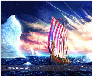 Viking Iceberg Drakkar Print