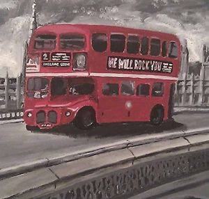 Canvas Painting - London red bus