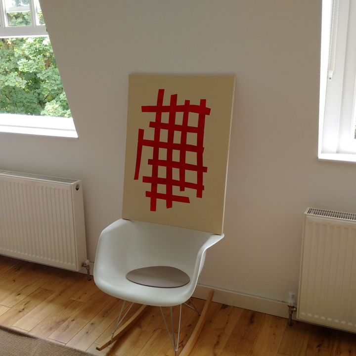 Red lines on beige 1 - London Contemporary