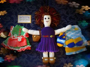 "Handmade 16"" Crochet Doll Set - Unique Crochet Dolls & Accessories"