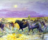Wild Horses running on water
