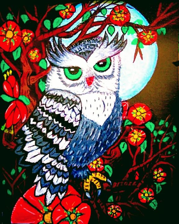 Blue Moon Owl - Gaylynns Art