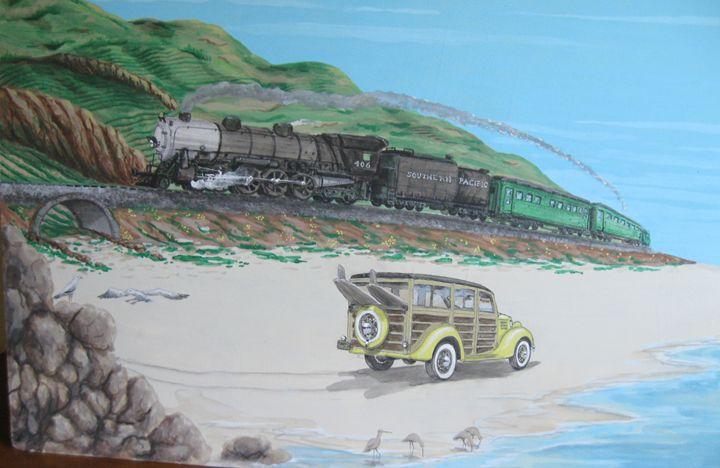 CALIFORNIA TRAIN AND BEACH - Lyman young
