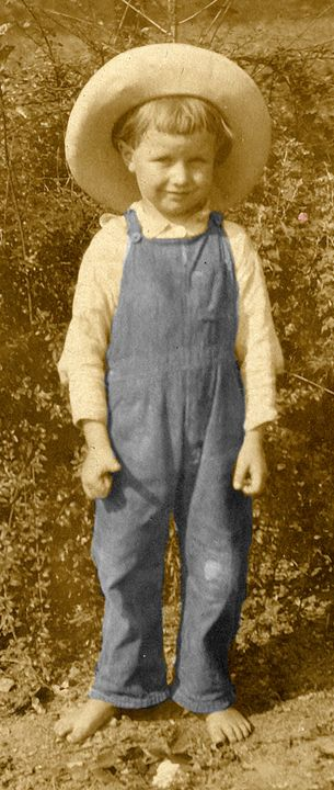 Cute Barefoot Boy in Overalls, Hat - Sue Whitehead Arts