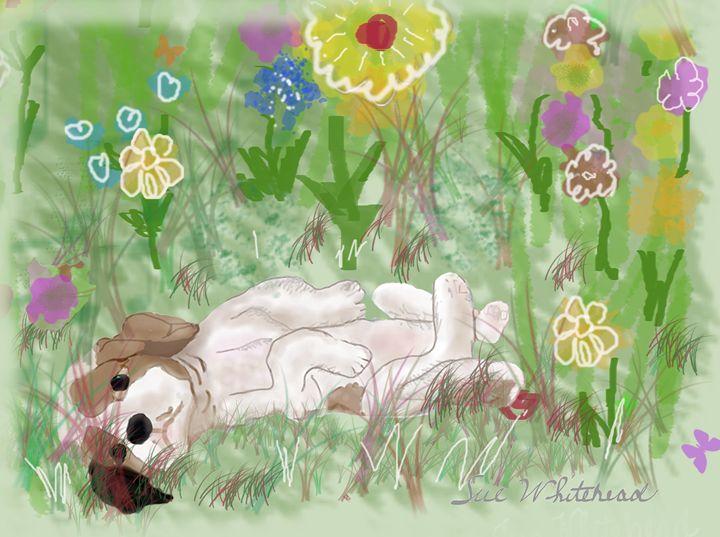 Puppy Loves Flowers - Sue Whitehead Arts