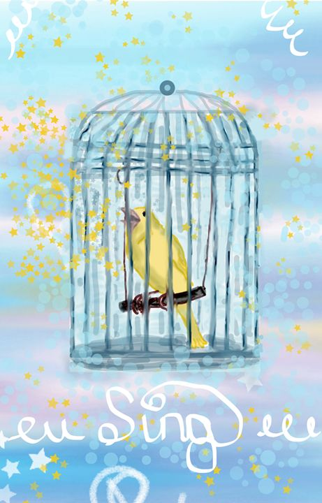 Caged Canary Singing - Sue Whitehead Arts