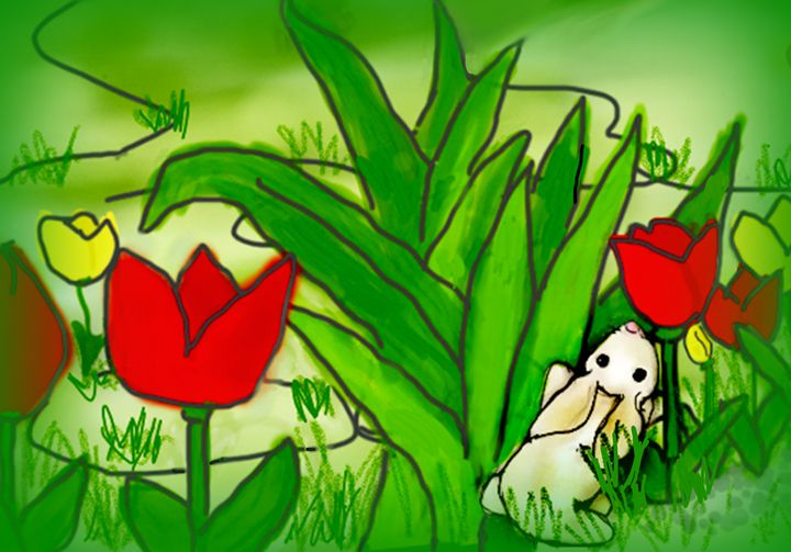 Bunny Likes the Smell of Tulips - Sue Whitehead Arts