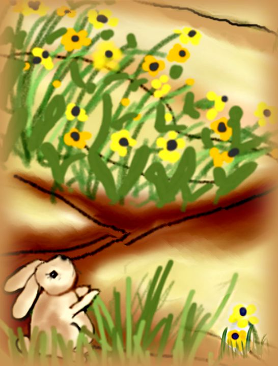 Rabbit Contemplates the Daisies - Sue Whitehead Arts